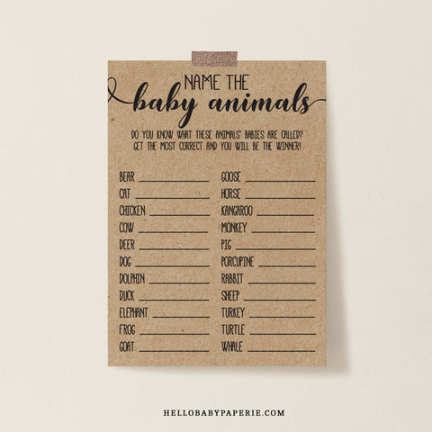 Rustic Kraft Name the Baby Animals Game Template - Hello Baby Paperie