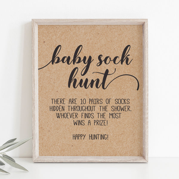 Rustic Kraft Baby Sock Hunt Sign Template