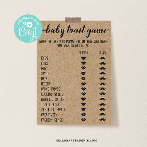 Rustic Kraft Baby Trait Game Template