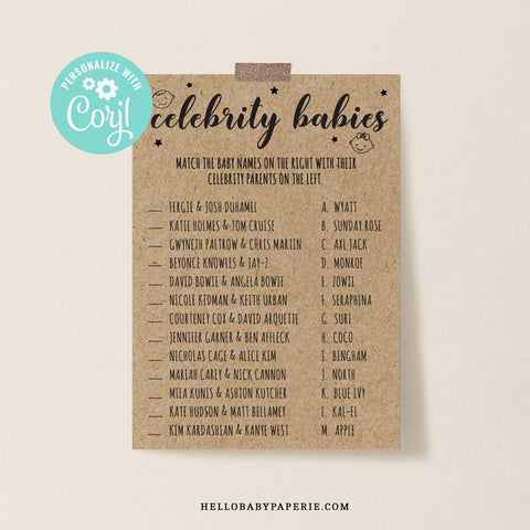Rustic Kraft Celebrity Baby Match Game Template - Hello Baby Paperie