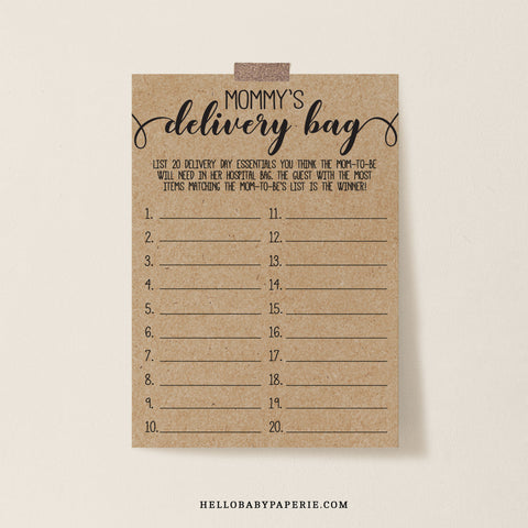 Rustic Kraft Mommy's Delivery Bag Game Template