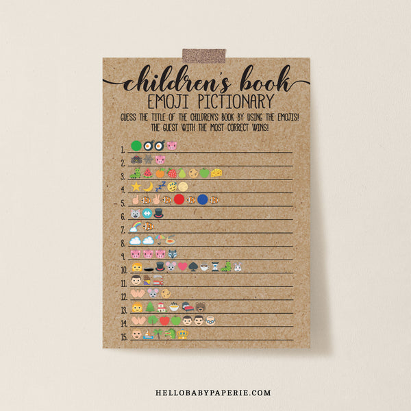 Rustic Kraft Children's Book Emoji Game Template - Hello Baby Paperie