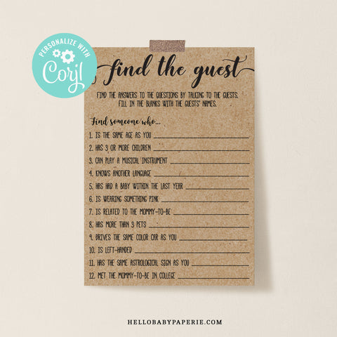Rustic Kraft Find the Guest Game Template - Hello Baby Paperie
