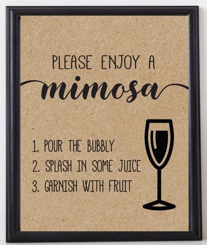 Rustic Kraft Mimosa Sign Template