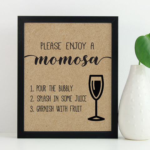 Rustic Kraft Momosa Sign Template