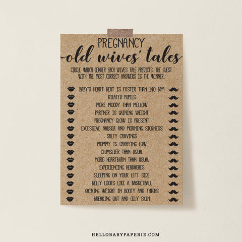 Rustic Kraft Old Wives' Tales Game Template