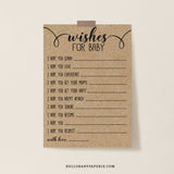 Rustic Kraft Wishes for Baby Cards - Hello Baby Paperie