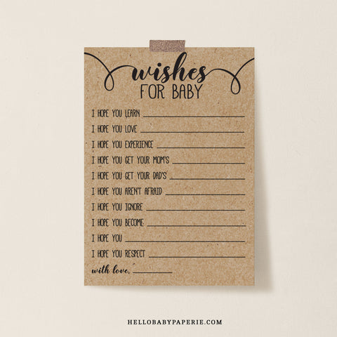 Rustic Kraft Wishes for Baby Cards