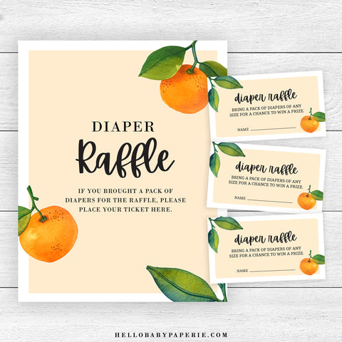 Little Cutie Diaper Raffle Sign and Tickets
