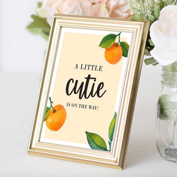 Little Cutie is on the Way Sign - Hello Baby Paperie