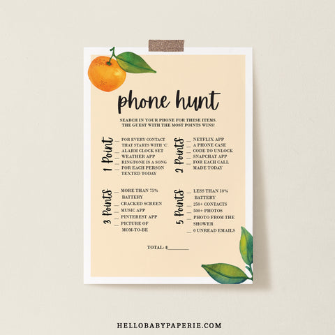 Little Cutie Phone Scavenger Hunt Baby Shower Game