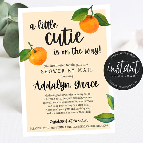 Virtual Shower Little Cutie Baby Shower Invitation