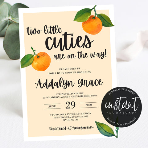 Little Cuties Invitation for Twins