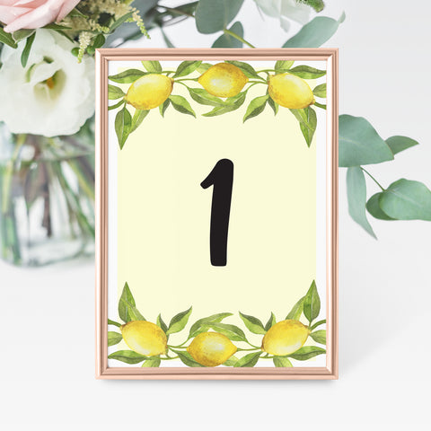 Lovely Lemon Table Number Cards