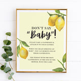 Lovely Lemon Don't Say Baby Game Sign