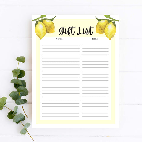 Lovely Lemon Gift List Template