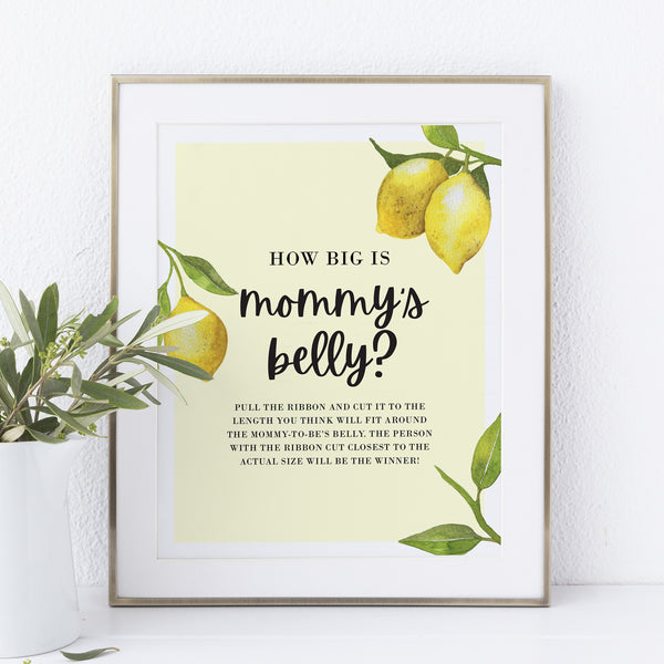 Lovely Lemon Mommy's Belly Game Sign Template