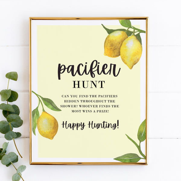 Lovely Lemon Pacifier Hunt Game Sign