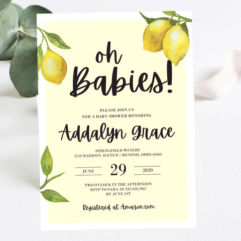 Lovely Lemon Twins Baby Shower Invitation