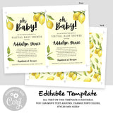 Lovely Lemon Baby Shower Invitation