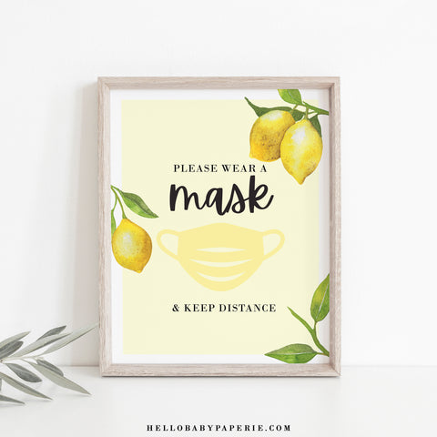 Lovely Lemon Please Wear a Mask Sign