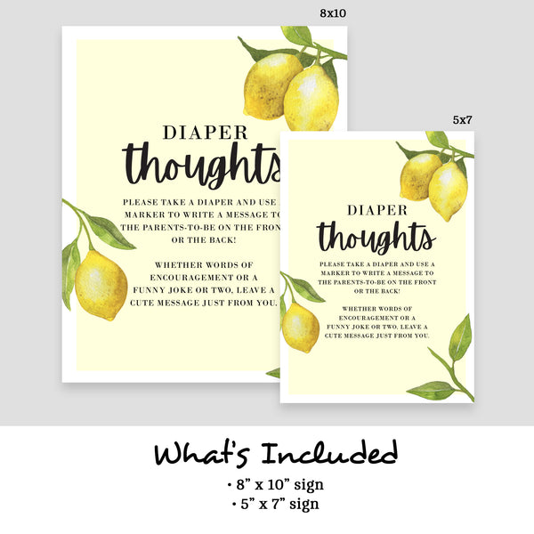 Lovely Lemon Diaper Thoughts Sign Template