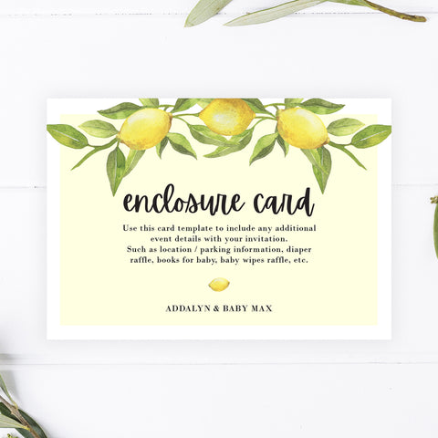 Lovely Lemon Enclosure Cards
