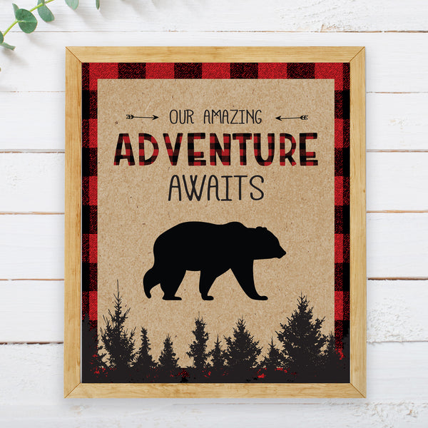 Lumberjack Adventure Awaits Sign - Hello Baby Paperie