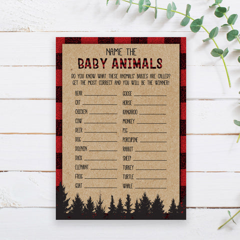 Lumberjack Name the Baby Animals Game Template