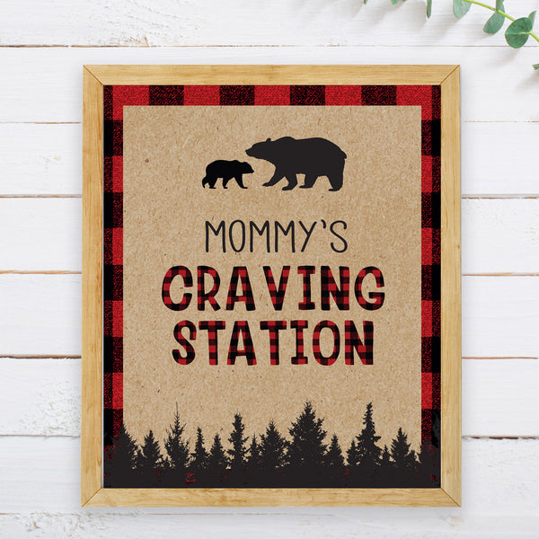 Lumberjack Mommy's Craving Station Sign - Hello Baby Paperie