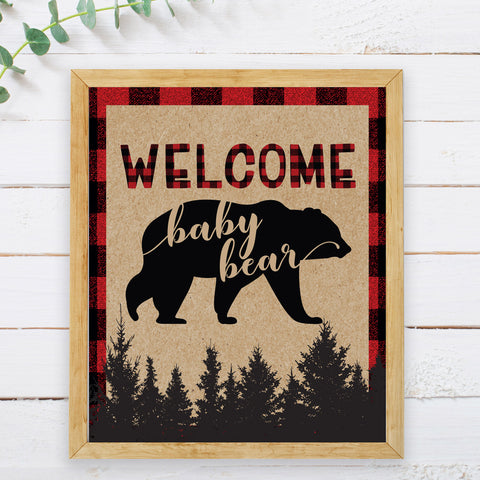 Lumberjack Welcome Baby Bear Sign - Hello Baby Paperie