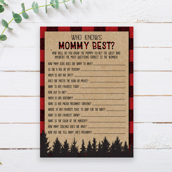Lumberjack Who Knows Mommy Best Game Template - Hello Baby Paperie