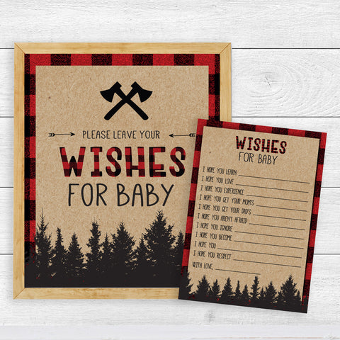 Lumberjack Wishes for Baby Cards Template