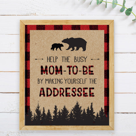 Lumberjack Make Yourself the Addressee Sign - Hello Baby Paperie