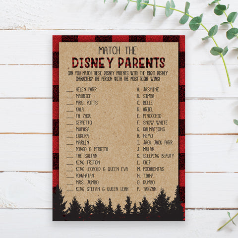 Lumberjack Disney Parent Match Game Template