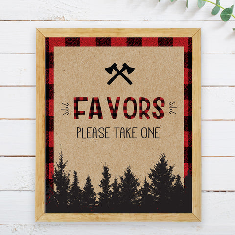 Lumberjack Favors Sign - Hello Baby Paperie