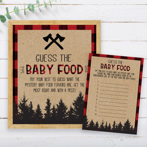 Lumberjack Guess the Baby Food Game Template - Hello Baby Paperie