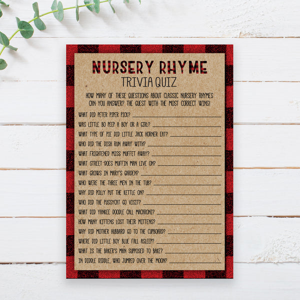 Lumberjack Nursery Rhyme Quiz Game Template