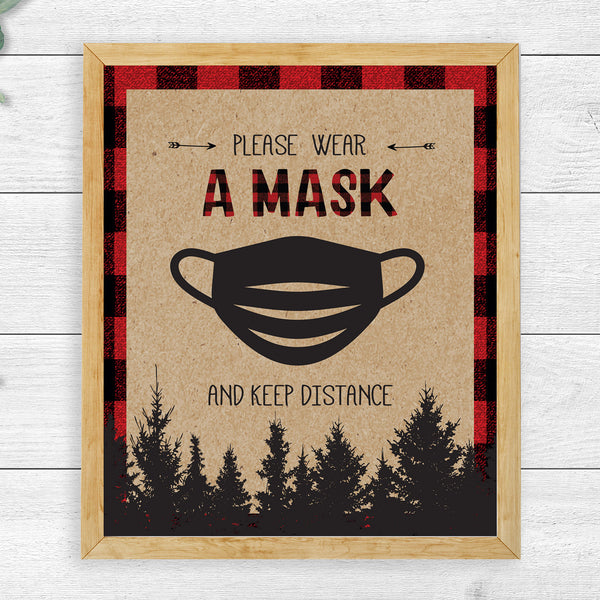 Lumberjack Please Wear a Mask Sign