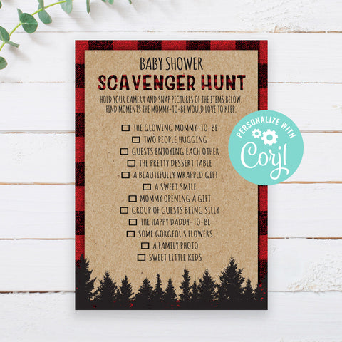 Lumberjack Scavenger Hunt Game Template
