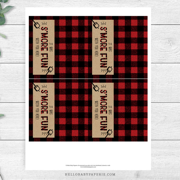 Lumberjack S'mores Favor Bag Toppers