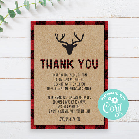 Editable Lumberjack Thank You Card