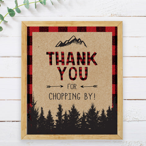 Lumberjack Thank You for Chopping By Sign