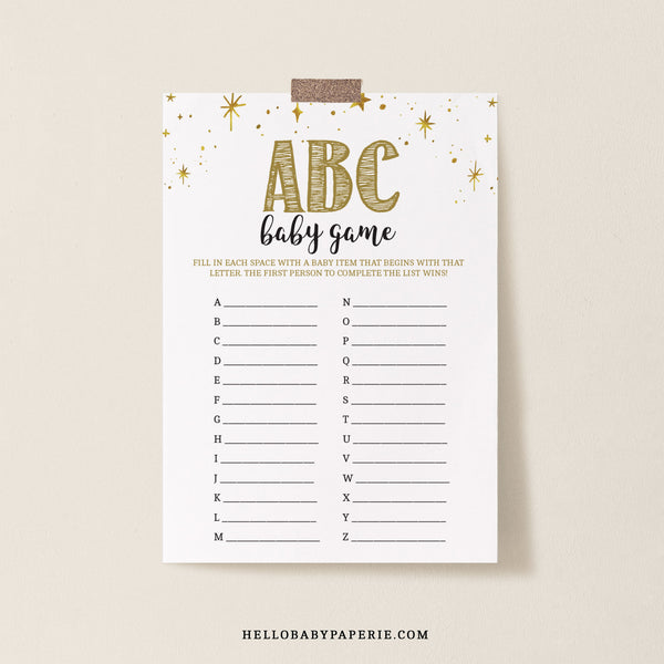 Mini Gold Stars ABC Baby Name Game Template