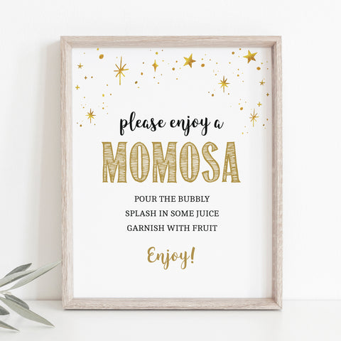 Mini Gold Stars Momosa Bar Sign Template