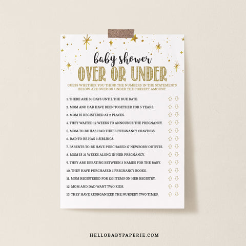 Mini Gold Stars Over or Under Game Template - Hello Baby Paperie