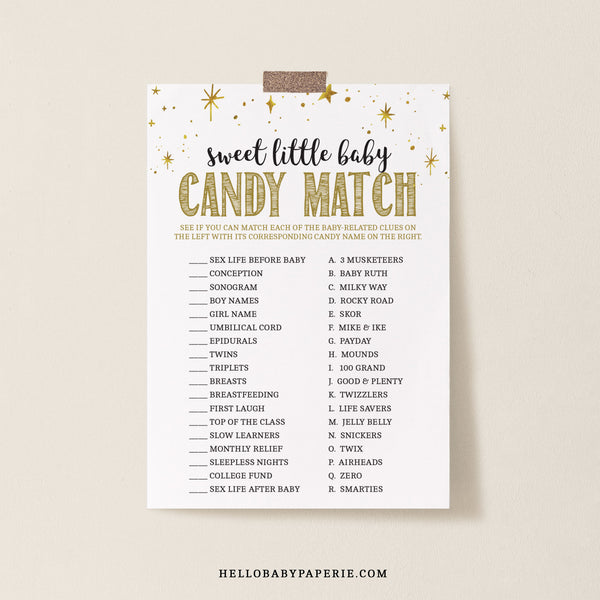 Mini Gold Stars Sweet Little Baby Game Template - Hello Baby Paperie
