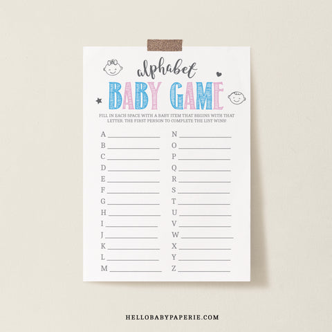 Pink and Blue ABC Baby Game Template - Hello Baby Paperie