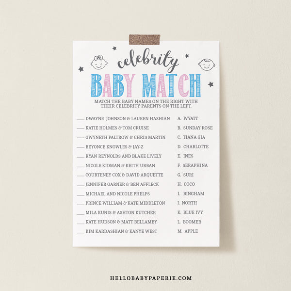 Pink and Blue Celebrity Babies Game Template
