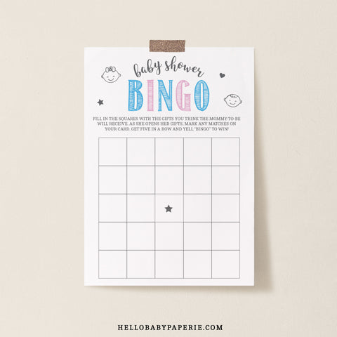 Pink and Blue Blank Bingo Game Template